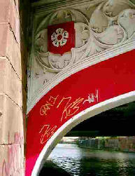 River with bridge covered in graffiti