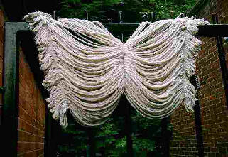 Mop hanging up to dry in shape of a butterfly