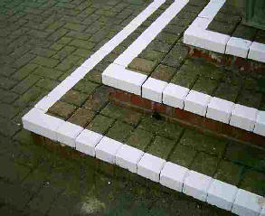 White painted steps at right angles